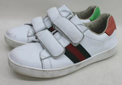 612a14e5e GUCCI Boys White Leather Green & Red Web Round Toe Trainers Size UK13 EU32