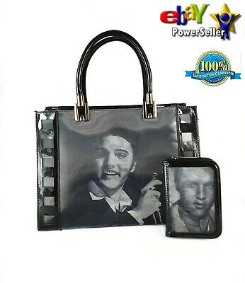 Women's 3D Singing Star Elvis Presley Patent Black 2In1 Hand Bag With Purse Set
