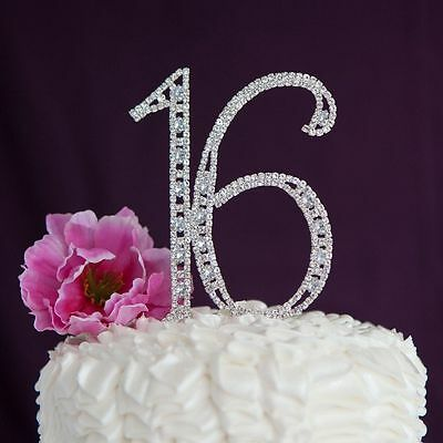 Sixteen 16 Birthday Number Silver Crystal Rhinestone Sweet Cake Topper Decor New