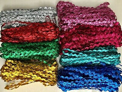 BB 8mm GLITTER RIC RAC TRIM  x 2m select colour zig zag braid ribbon sewing