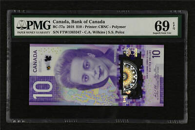2018 Canada Bank of Canada  BC-77a 10 Dollars PMG 69 EPQ Superb Gem UNC
