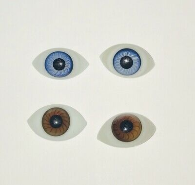 Pair of Antique French/German Blown Glass Paper Weight Doll Eyes in BROWN 28mm