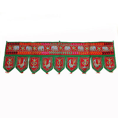 Door Hanging Thorang India Wall Hanging Elephants Tent Decoration Cotton Red 2
