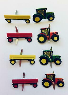BRADS TRACTOR and CART pk of 6 farm truck split pin craft cards