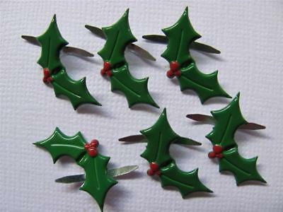 BRADS HOLLY  pk of 8 christmas xmas split pin craft scrapbooking