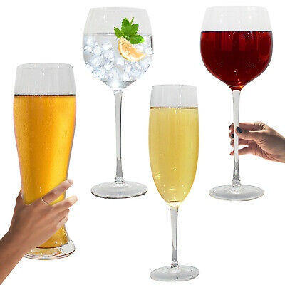 Giant Gin Glass Wine Beer Large Prosecco Champagne Flute Huge Glasses Novelty