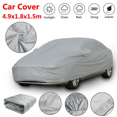 4.9x1.8x1.5m XL Waterproof Full Car Cover Cotton Rain Snow UV Protection Outdoor