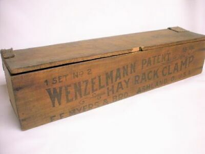 Antique WENZELMANN HAY RACK CLAMP Wooden Box F.E. Myers & Bro. Ashland Ohio Old