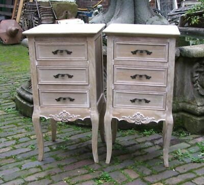 Pair Of French Louis Xv Shabby Chic Style 3 Drawer Bedside Chest (Cy16815)