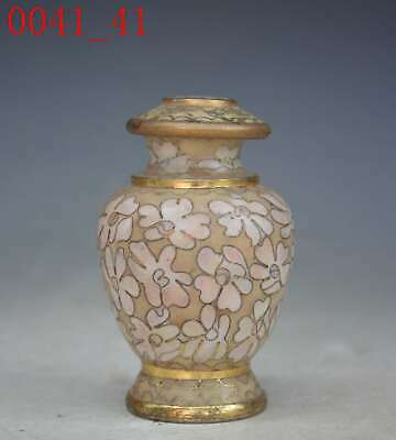 Vintage Chinese Cloisonne Enameled Tea Caddy Lidded Trinket Box