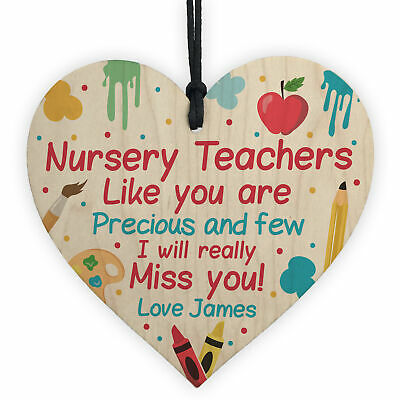 Personalised Nursery Teacher Gifts Wooden Heart Thank you Leaving Nursery Gift