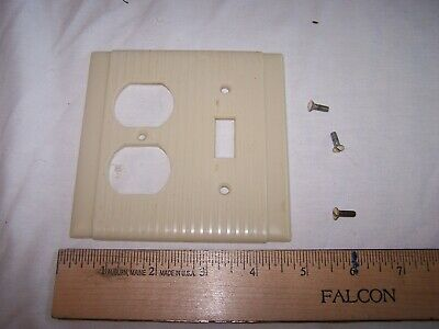 Vintage P&S UNILINE USA - Single Gang Box Ivory COMBO OUTLET SWITCH Cover
