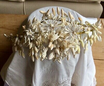 Antique French Timeworn Waxed Blossom Wedding Couronne