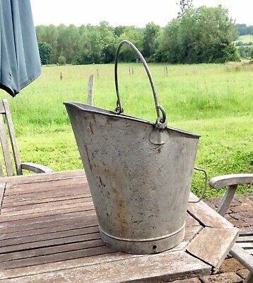 Vintage Round Galvanised Coal Bucket Tub Garden Planter With Carrying Handles