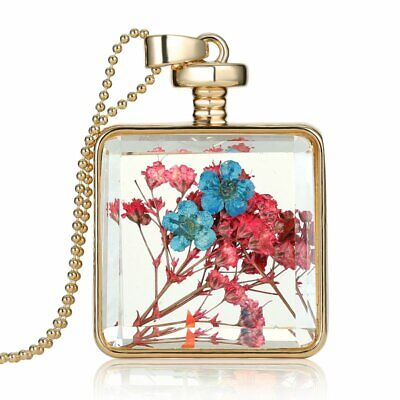 Square Glass Locket Pendant Necklace Real Dried Flower Long Sweater Chain Gifts