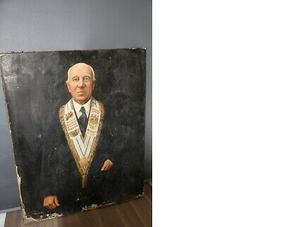 Antique Really Old Oil Painting Portrait of a Masonic Man.Unframed distressed