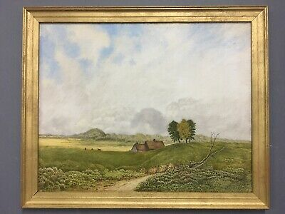Large Antique Oil On Board Painting In Gold Gilt Frame
