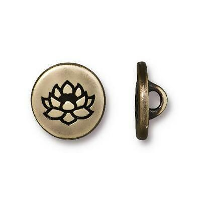 TierraCast Buttons Lotus Blossom Flower Antique Brass 4 to 20 Bronze Tiny Round