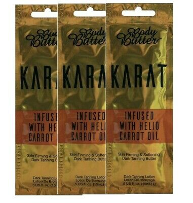 Body Butter Karat - With Carrot Oil - Sunbed Tanning Lotion - 3 X Sachets
