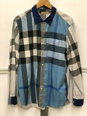 Authentic Burberry London Blue and Gray Plaid Sport Button down Shirt