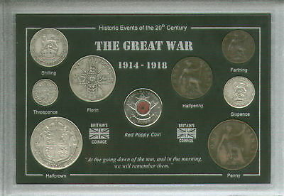 WWI World War One The Great War 1914-18 Veteran Remembrance Poppy Coin Gift Set