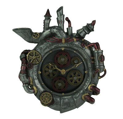 Magnum Opus Steampunk Style Wall Clock With Moving Gears