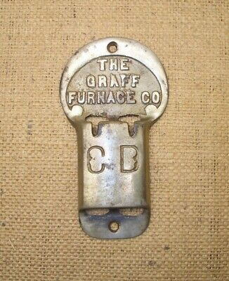 Antique Graff Furnace Co Draft Check Wall Control Plate Cast Iron Part Old Early