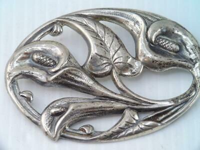LARGE ANTIQUE Art Deco STERLING SILVER CALA LILLY FLOWER PIN BROOCH SIGNED $9.99