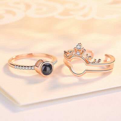 AG_ HOT 2in1 I Love You 100 Languages Light Projection Lady Crown Finger Ring Li