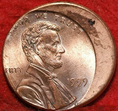 Uncirculated Red 1999 Philadelphia Mint Lincoln Cent Off Center Error