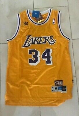 Shaq Shaquille O'Neal Lakers #34 Yellow Home Throwback Swingman Jersey NEW