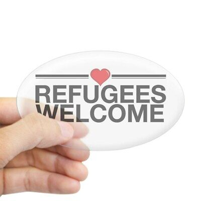 1753639444 Oval CafePress Refugees Welcome Sticker Sticker