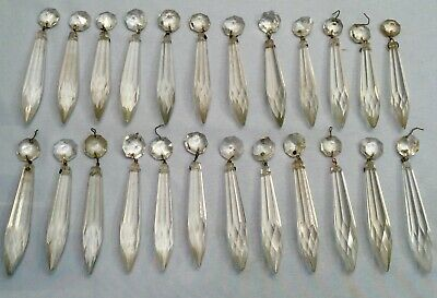 """24 Antique 3"""" Crystal Spear Prism Chandelier Lamp Jewelry Holiday Decor Wedding"""