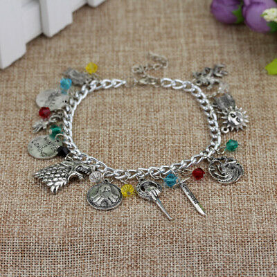 Game of Thrones Charm Bracelet House Nights Watch Stark Metal Jewelry Gift New