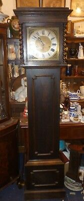 Antique Oak Westminster Chime Longcase Grandfather Clock Full Working Order