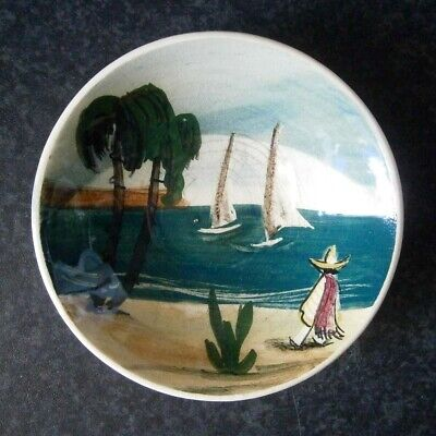 VINTAGE AUSTRALIAN POTTERY MARTIN BOYD SIGNED MEXICAN PIN DISH Yachts Palm Trees
