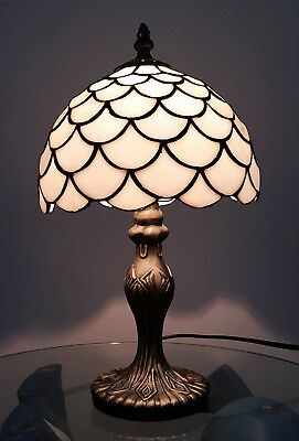 8 Inch Tiffany Antique Brass Lamp Modern Home Bedside tables with glass shade