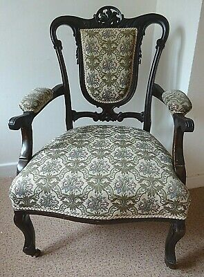 19thC Antique Mahogany Upholstered BOUDOIR SALON CHAIR *Free 4m del