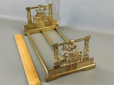Antique Judd # 9869 Cast Iron & Brass Expandable Book Rack Victorian Lady Dogs