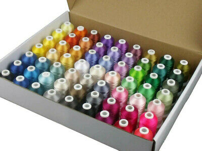 63 x Embroidery Thread set + FREE 7500 Embroidery Designs - 500m per cone 120D/2