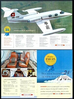 1966 LEAR JET private plane 2 color photo vintage print ad