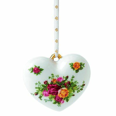 NIB Royal Albert Old Country Roses Heart Christmas ornaments Brand New