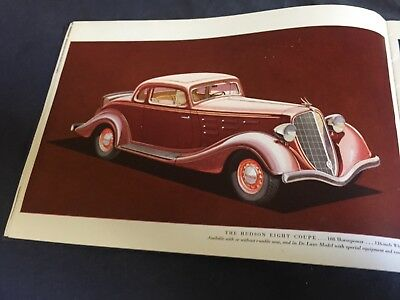 1934 Hudson Eight Full Line Large COLOR Brochure Catalog Prospekt