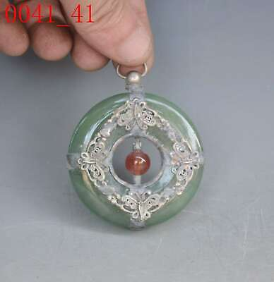 China Handwork Jade Armor Old Miao Silver Carve Butterfly Delicate