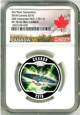 2018 Canada $10 Star Trek Enterprise NCC-1701-D Next Generation NGC PF70 UC OGP