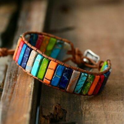 Womens Chakra Bracelet Natural Stone Tube Beads Leather Wrap Bangle Jewellery