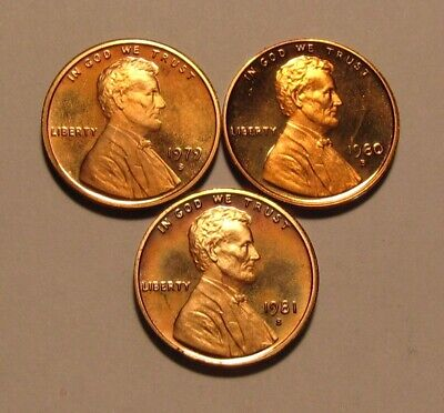 1979 S Ty 2 1980 S 1981 S Lincoln Cent Proof - Mixed BU Condition - 125SA