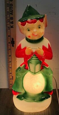 """13"""" Christmas Elf Lighted Plastic Table Top Blow Mold Decor Vintage 1970 Empire"""