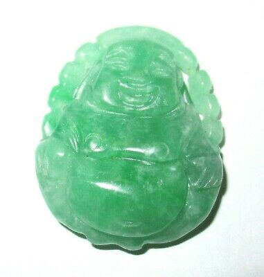 Rare Small Chinese White & Apple Green Carved Jade Buddha Pendant
