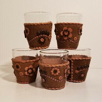 Vintage Shot Glasses - Unused in Box - with Hand Crafted Leather Beaded Holders